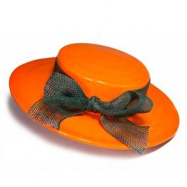 Sombrero-decorativo-amarillo-con-lazo-alfareria-moderna-ceramica-decorativa-oleria-de-buño